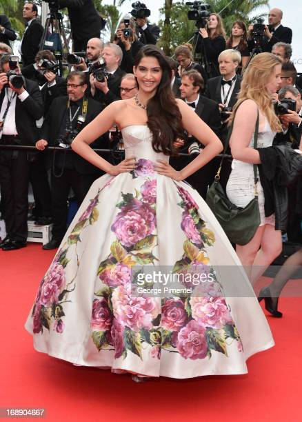 Actress Sonam Kapoor attends the Premiere of 'Jeune Jolie' at The 66th Annual Cannes Film Festival at Palais des Festivals on May 16 2013 in Cannes...