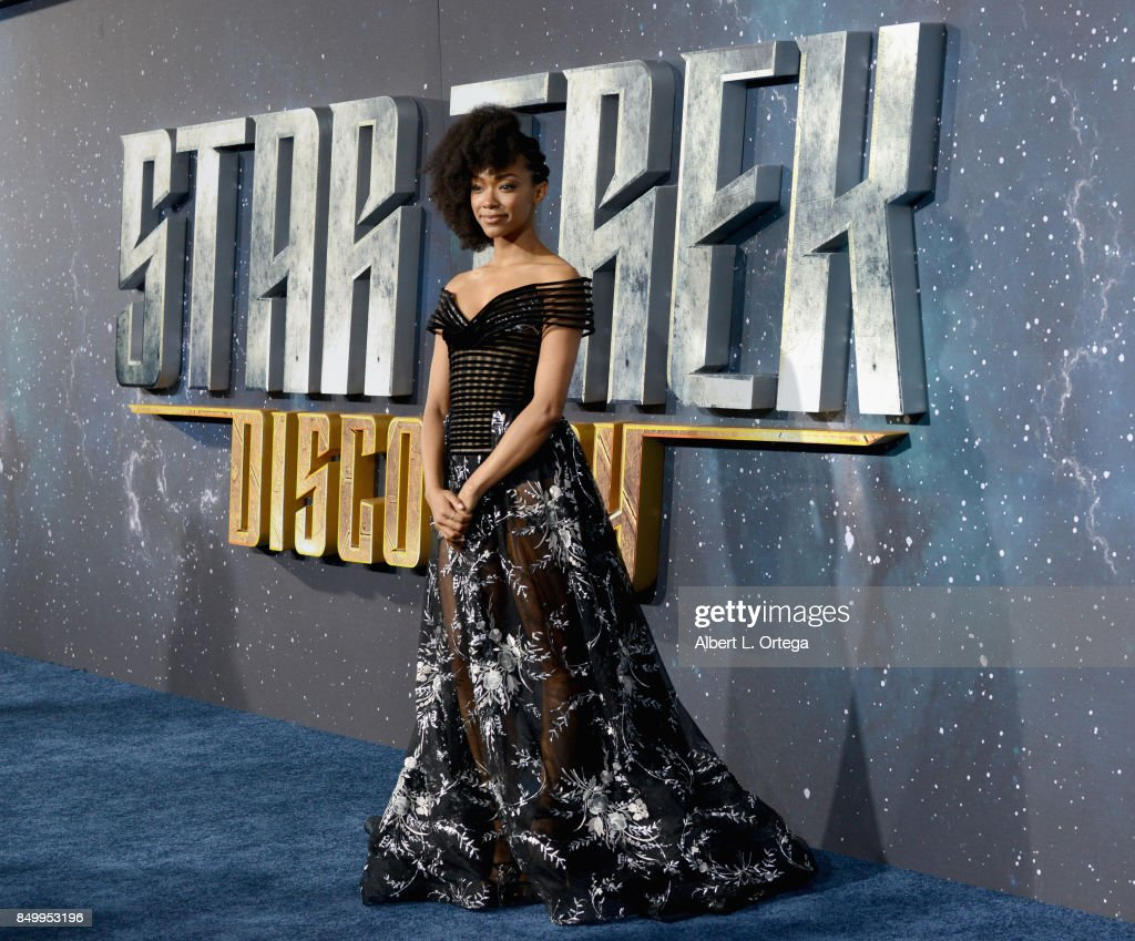Actress Sonequa Martin-Green arrives for the Premiere Of CBS's 'Star Trek: Discovery' held at The Cinerama Dome on September 19, 2017 in Los Angeles, California.