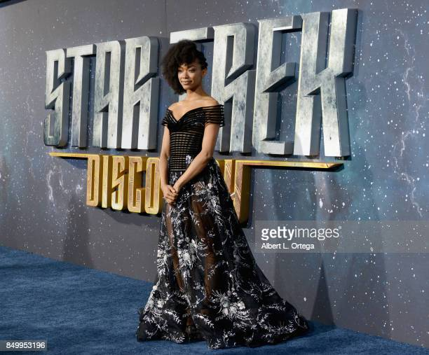 Actress Sonequa MartinGreen arrives for the Premiere Of CBS's 'Star Trek Discovery' held at The Cinerama Dome on September 19 2017 in Los Angeles...
