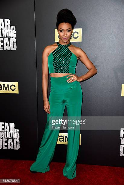 Actress Sonequa MartinGreen attends the premiere of AMC's 'Fear The Walking Dead' Season 2 at Cinemark Playa Vista on March 29 2016 in Los Angeles...