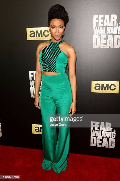 Actress Sonequa MartinGreen attends the season 2 premiere of 'Fear the Walking Dead' at Cinemark Playa Vista on March 29 2016 in Los Angeles...
