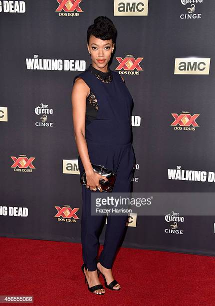 """Actress Sonequa Martin-Green attends the season 5 premiere of """"The Walking Dead"""" at AMC Universal City Walk on October 2, 2014 in Universal City,..."""