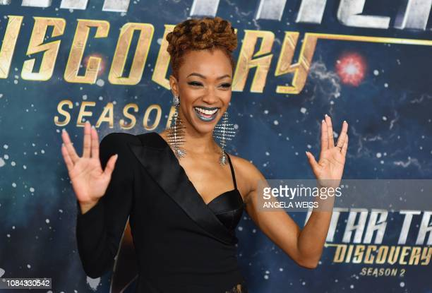"""Actress Sonequa Martin-Green attends the """"Star Trek: Discovery"""" Season 2 Premiere at Conrad New York on January 17, 2019 in New York City."""