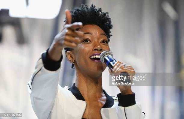 Actress Sonequa MartinGreen speaks at the Discovery Part 5 panel during the 17th annual official Star Trek convention at the Rio Hotel Casino on...