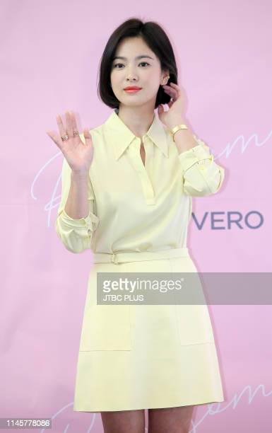 """Actress Song Hye-kyo attends a photo event at the Italian Emotional eyewear brand """"VEDI VERO"""" held at Lotte Duty Free on April 20, 2019 in Seoul,..."""