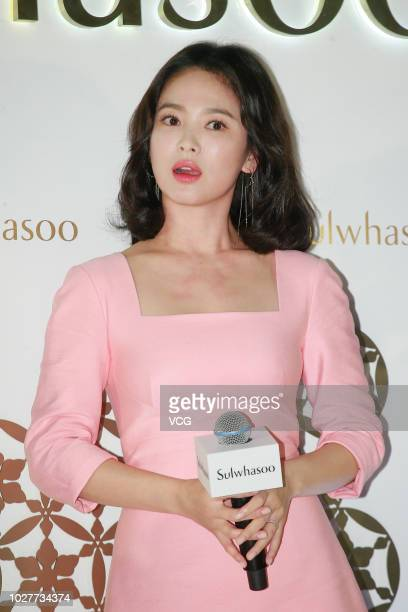 Actress Song Hye-kyo attends Sulwhasoo exhibition opening ceremony on August 29, 2018 in Hong Kong, China.