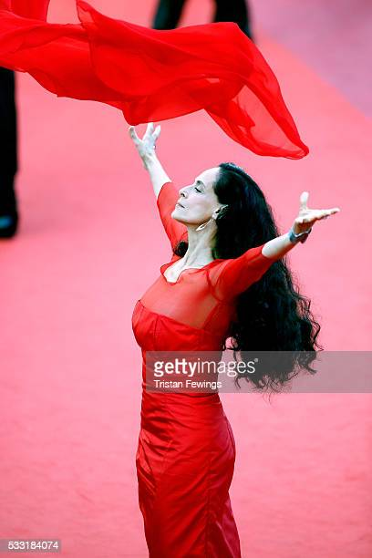 Actress Sonia Braga attends the 'Elle' Premiere during the 69th annual Cannes Film Festival at the Palais des Festivals on May 21 2016 in Cannes...