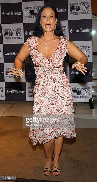 Actress Sonia Braga attends the premiere of Pedro Almodovar's Talk To Her on October 13 2002 at Avery Fisher Hall in New York City