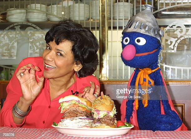 Actress Sonia Manzano who plays Maria Rodriquez on the childrens television show 'Sesame Street' and the muppet Grover lauch the new 'Super Grover'...