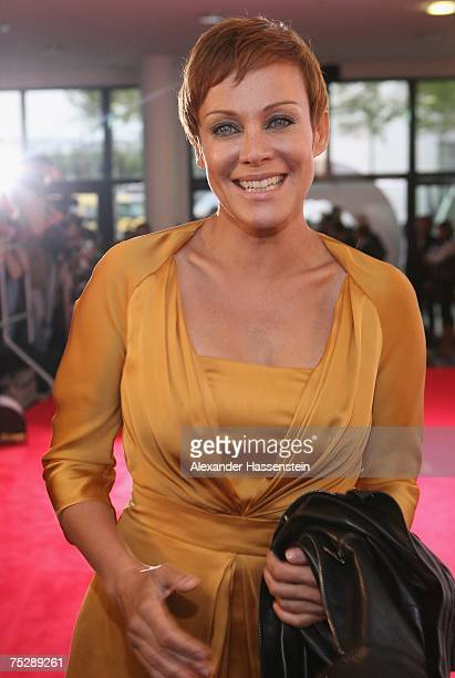 Actress Sonja Kirchberger arrives at the GQ fashion show during the GQ style night at the Wappenhalle July 9 2007 in Munich Germany