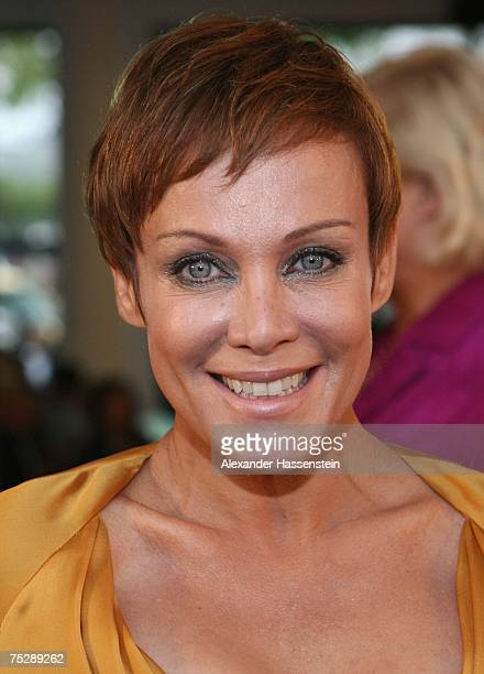 Actress Sonja Kirchberger arrives at the GQ fashion show during the GQ style night at the Wappenhalle July 9, 2007 in Munich, Germany.