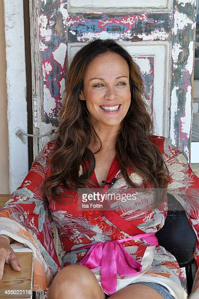 Actress Sonja Kirchberger poses in her restaurant Ca'n Punta on September 6 2014 in the harbour of Molinar near Palma de Mallorca Spain