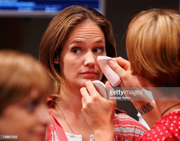 Actress Sonsee Neu receives make up prior of the photo call Deadline on July 2 2007 in Berlin Germany