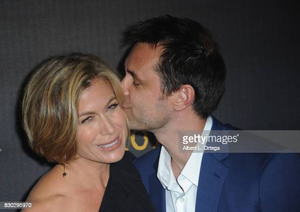 Actress Sonya Walger and husband executive producer Davey Holmes arrive for the Red Carpet Premiere of EPIX Original Series Get Shorty held at Pacfic...