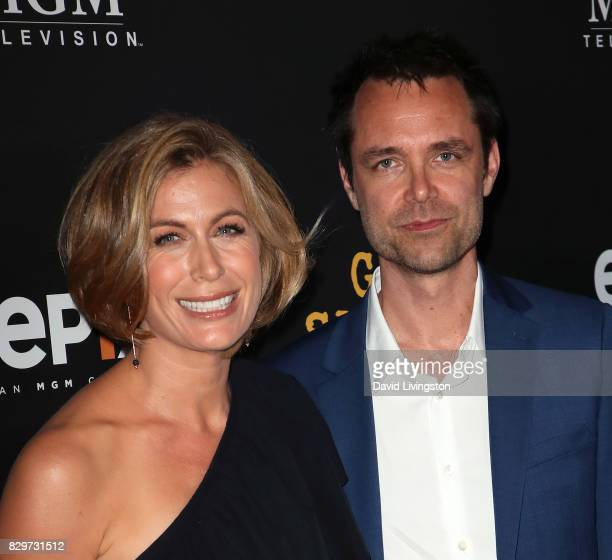 Actress Sonya Walger and husband executive producer Davey Holmes attends the red carpet premiere of EPIX original series Get Shorty at Pacfic Design...