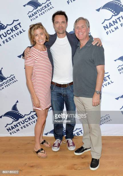 Actress Sonya Walger screenwriter Davey Holmes and Epix presidentCEO Mark Greenberg attend TV and Talk Get Shorty during the 2017 Nantucket Film...
