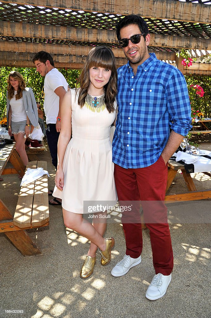Actress Sophia Bush (L) and Actor/filmmaker Eli Roth attend Harper's BAZAAR Coachella poolside fete at the Parker Palm Springs on April 12, 2013 in Palm Springs, California.