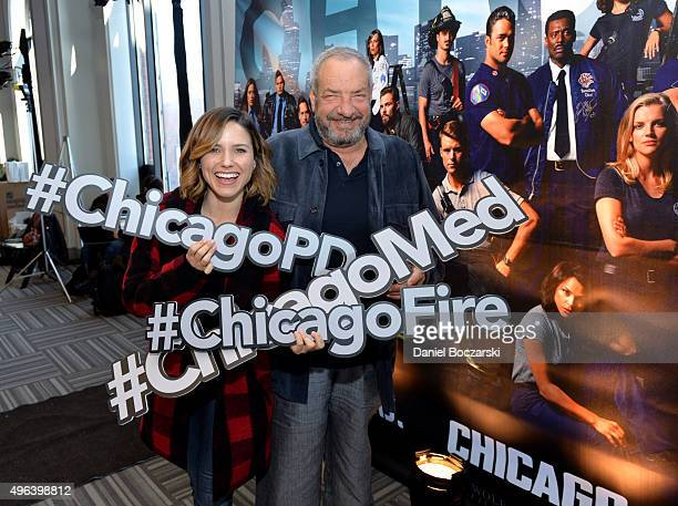 Actress Sophia Bush and Executive Producer Dick Wolf pose with hashtags at a press junket for NBC's 'Chicago Fire' 'Chicago PD' and 'Chicago Med' at...