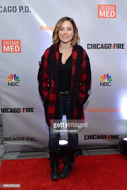 Actress Sophia Bush attends a press junket for NBC's 'Chicago Fire', 'Chicago P.D.' and 'Chicago Med' at Cinespace Chicago Film Studios on November...