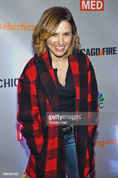 Actress Sophia Bush attends a press junket for NBC's 'Chicago Fire' 'Chicago PD' and 'Chicago Med' at Cinespace Chicago Film Studios on November 9...