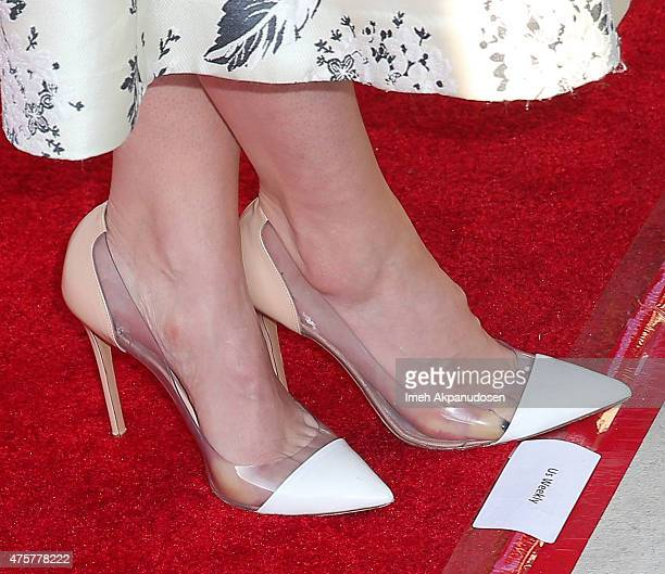 Actress Sophia Bush shoe detail attends the British Consul General hosted Theirworld collaboration with Astley Clarke summer reception at The British...