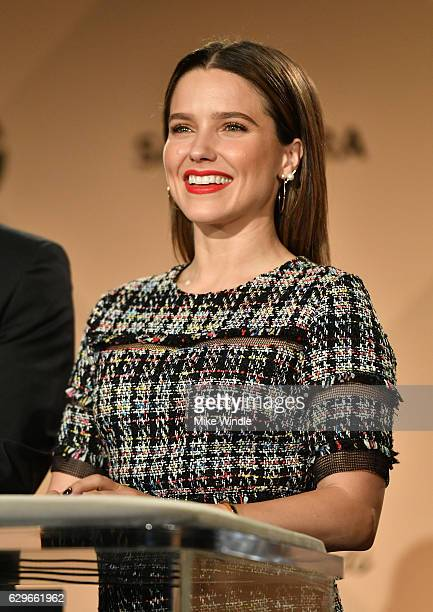 Actress Sophia Bush speaks onstage during the 23rd Annual SAG Award Nominations Announcement at Silver Screen Theater on December 14 2016 in West...