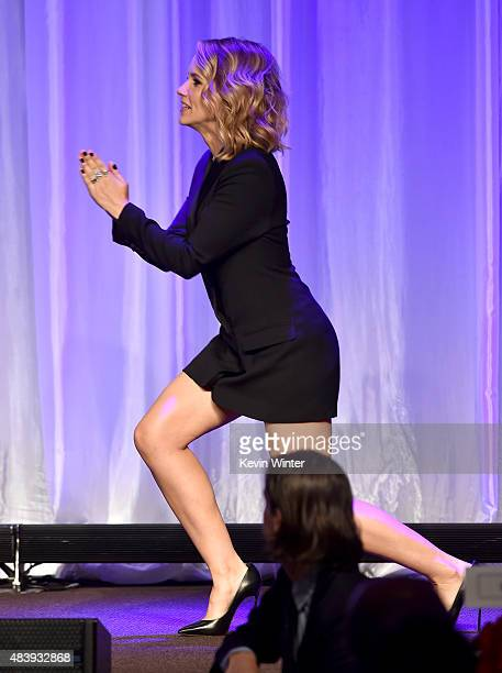 Actress Sophia Bush walks onstage during HFPA Annual Grants Banquet at the Beverly Wilshire Four Seasons Hotel on August 13 2015 in Beverly Hills...