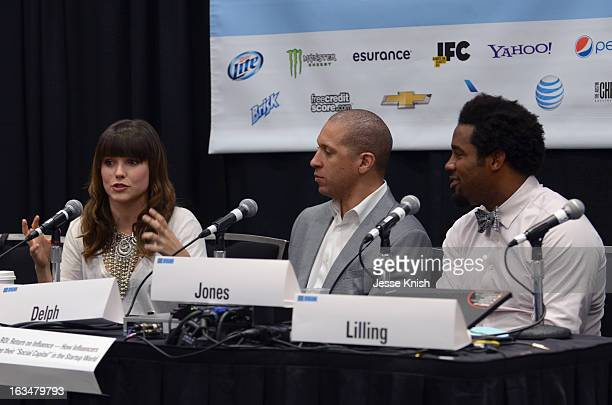 Actress Sophia Bush, Walter Delph CEO of Adly and Dhani Jones, host of Spike.com speak onstage at The New ROI: Return On Influence - How Influencers...
