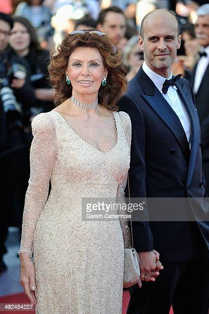 Actress Sophia Loren and director Edoardo Ponti attend the Premiere of Voce Umana at the 67th Annual Cannes Film Festival on May 20 2014 in Cannes...