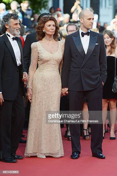 Actress Sophia Loren and director Edoardo Ponti attend the Two Days One Night premiere during the 67th Annual Cannes Film Festival on May 20 2014 in...