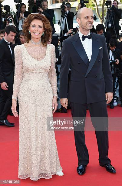 Actress Sophia Loren and director Edoardo Ponti attend Voce Umana Premiere during the 67th Annual Cannes Film Festival on May 20 2014 in Cannes France