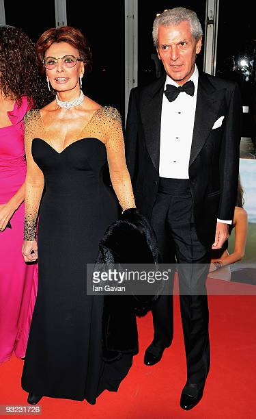 Actress Sophia Loren and Marco Tronchetti Provera the Chairman of Pirelli arrive at the 2010 Pirelli Calendar launch party at Old Billingsgate on...