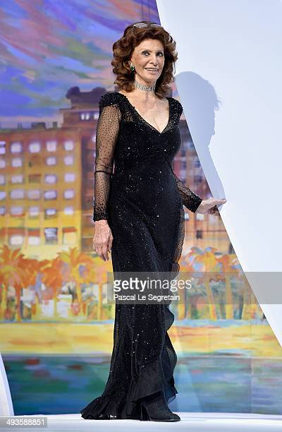 Actress Sophia Loren appears on stage to present The Grand Prix award during the Closing Ceremony at the 67th Annual Cannes Film Festival on May 24...