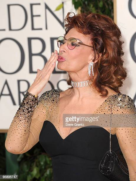 Actress Sophia Loren arrives at the 67th Annual Golden Globe Awards at The Beverly Hilton Hotel on January 17 2010 in Beverly Hills California