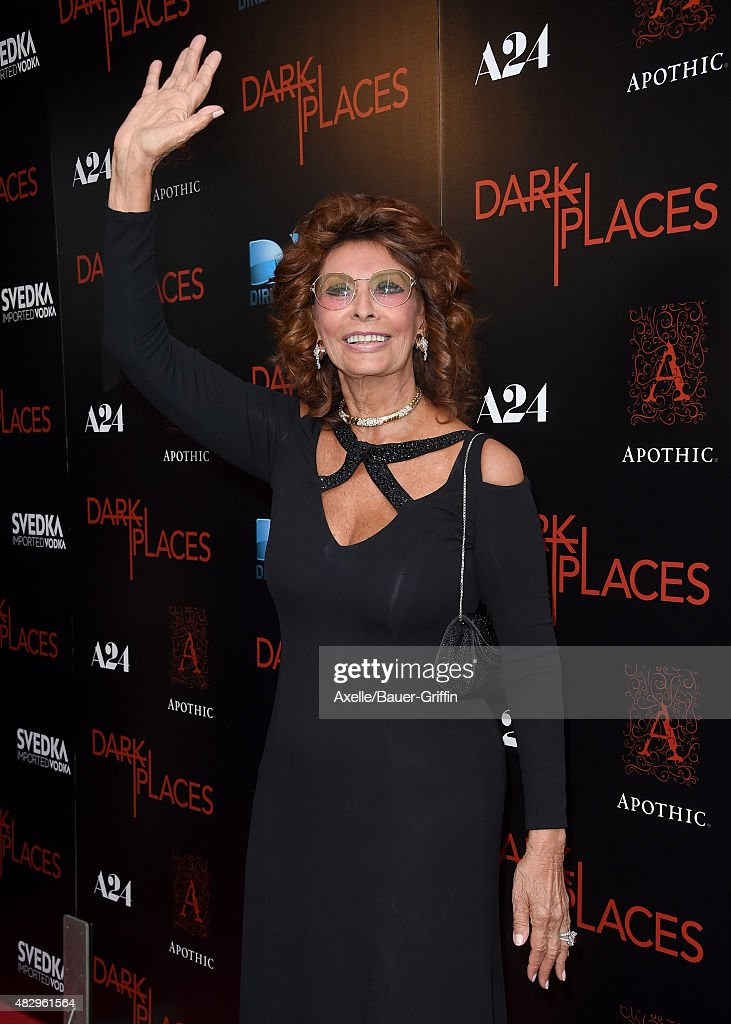 Actress Sophia Loren arrives at the premiere of DIRECTV's 'Dark Places' at Harmony Gold Theatre on July 21, 2015 in Los Angeles, California.