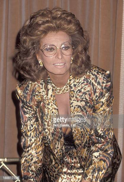 Actress Sophia Loren attends the Press Conference for the Heads of State and Hollywood Figures Appeal for Immediate Rescue of Civilian Victims in...
