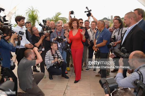 Actress Sophia Loren attends the Sophia Loren Presents Cannes Classic Photocall during the 67th Annual Cannes Film Festival on May 21 2014 in Cannes...