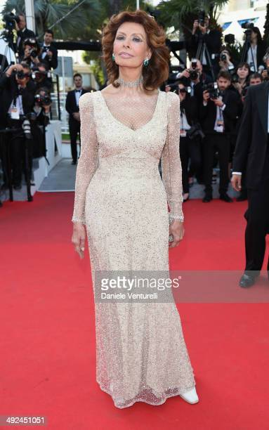 Actress Sophia Loren attends Voce Umana Premiere during the 67th Annual Cannes Film Festival on May 20 2014 in Cannes France