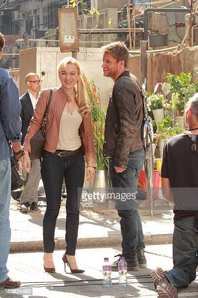 Actress Sophia Myles and actor Jack Reynor are seen on set filming Transfomers 4 Age of Extinction on October 24 2013 in Hong Kong Hong Kong