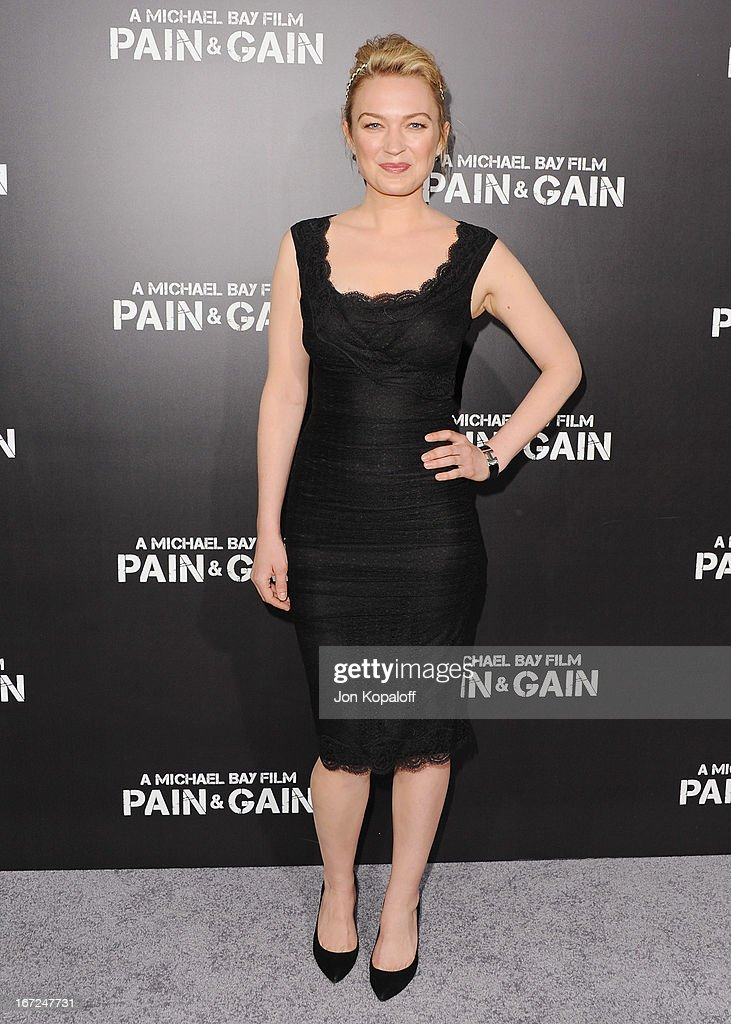 Actress Sophia Myles arrives at the Los Angeles Premiere 'Pain & Gain' at TCL Chinese Theatre on April 22, 2013 in Hollywood, California.