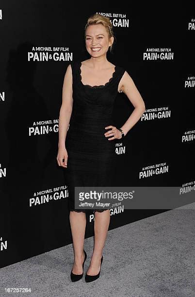 Actress Sophia Myles attends the 'Pain Gain' premiere held at TCL Chinese Theatre on April 22 2013 in Hollywood California