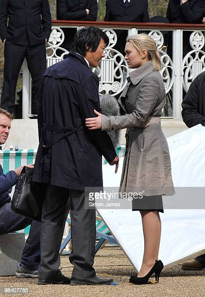 Actress Sophia Myles is seen filming for the BBC series Spooks on April 12 2010 in London England