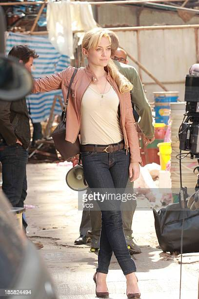 Actress Sophia Myles is seen on set filming Transfomers 4 Age of Extinction on October 24 2013 in Hong Kong Hong Kong