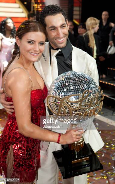 Actress Sophia Thomalla and dance partner Massimo Sinato pose after winning the final of the 'Let's Dance' TV show at Studios Adlershof on May 28,...