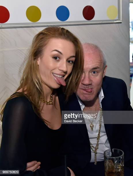 Actress Sophie Cannell and artist Damien Hirst attend the From Dust To Gold preview party at the Palms Casino Resort on May 17 2018 in Las Vegas...