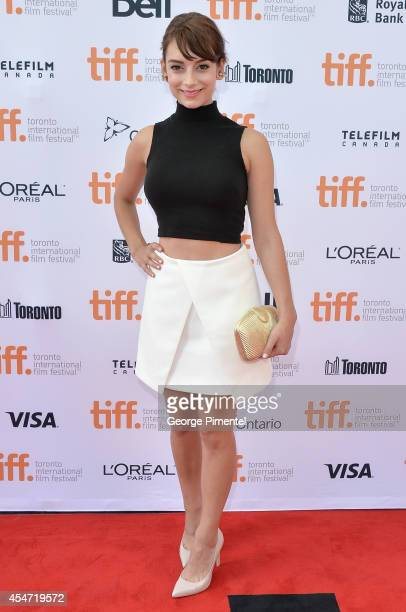 Actress Sophie Desmarais attends The Drop premiere during the 2014 Toronto International Film Festival at Princess of Wales Theatre on September 5...