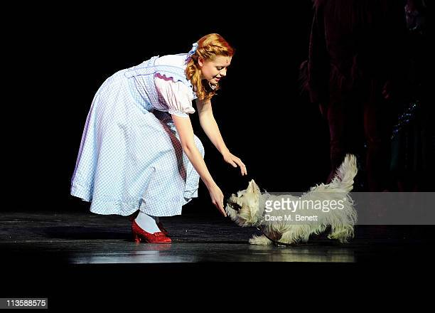 Actress Sophie Evans runnerup in the BBC 1's 'Over the Rainbow' bows on stage after beginning her first weeklong run as Dorothy in The Wizard of Oz...