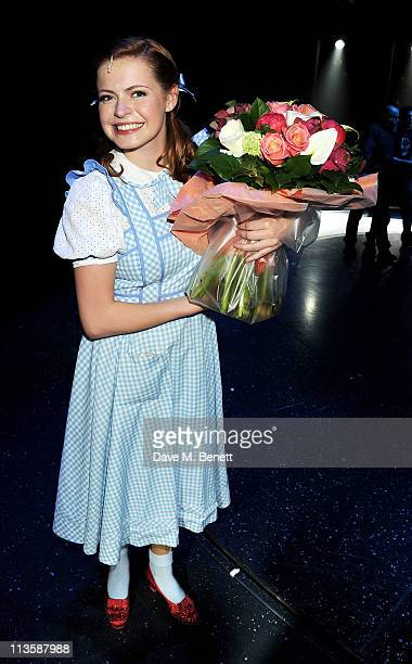Actress Sophie Evans runnerup in the BBC 1's 'Over the Rainbow' poses backstage after beginning her first weeklong as Dorothy in The Wizard of Oz at...