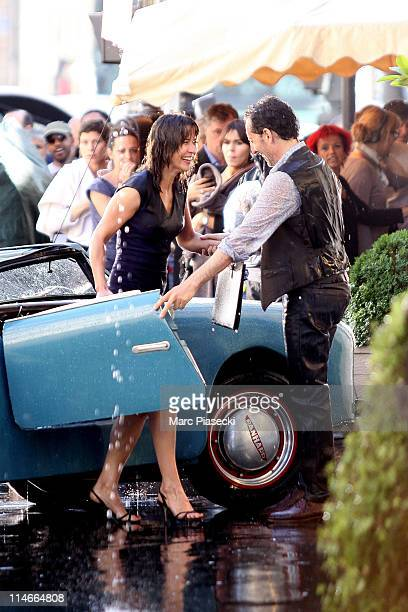 Actress Sophie Marceau and actor Gad Elmaleh on set of the new James Huth movie 'Un bonheur n'arrive jamais seul' on May 25 2011 in Paris France
