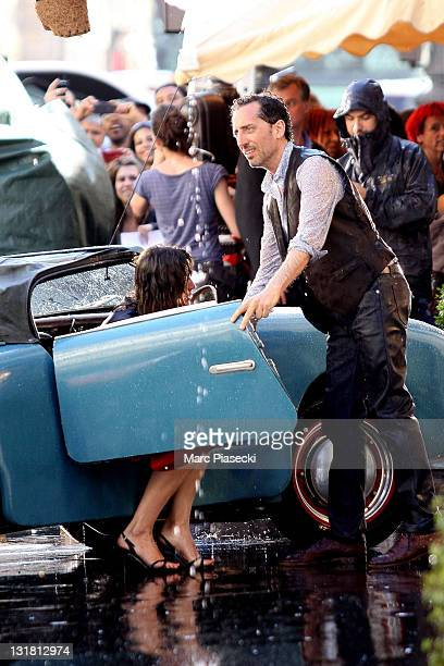 Actress Sophie Marceau and actor Gad Elmaleh on set of the new James Huth movie 'Un bonheur n'arrive jamais seul' on May 25, 2011 in Paris, France.